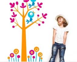 מדבקה לקיר ציפורים על העץ