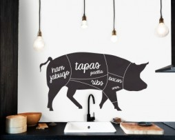 מדבקת קיר לוח גירים חזיר