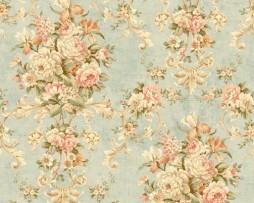 טפט לקיר זרי פרחים צבעוניים רקע תכלת