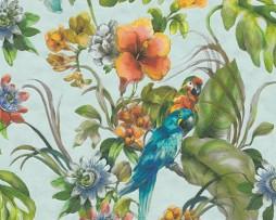 טפט לקיר פרחים ועלים צבעוניים עם תוכים