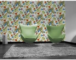 טפט לקיר פרחים ועלים צבעוניים עם תוכים דוגמא