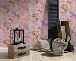טפט לקיר פרחים ועלים צבעוניים בגדלים דוגמא