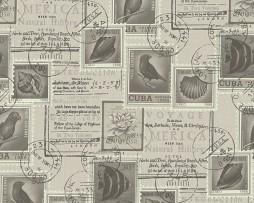 טפט לקיר בולים וחתימות דואר שחור לבן