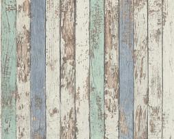טפט לקיר דמוי חומת עץ צבעונית