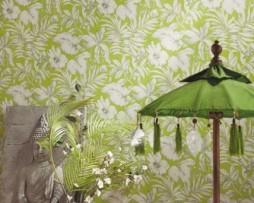 טפט פרחים בגון ירוק בהיר