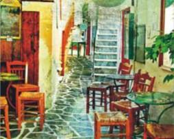 תמונת טפט ציור בית קפה
