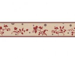 בורדר פרחים בגון קרם אדום