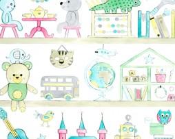 טפט דמויות לילדים בגוון כחול ירוק