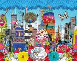 תמונת קיר פרחים בניינים וחיות