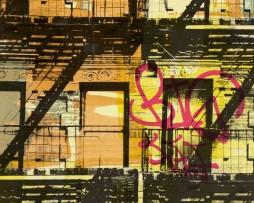 טפט לקיר גרפיטי מרפסות צבעוניות