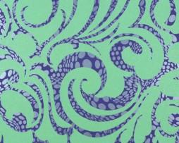טפט לקיר עיטורים סגולים ברקע ירוק