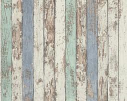 טפט דמוי עץ מקולף בגוון לבן כחול וטורקיז