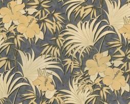 טפט פרחים בגוון זהב על רקע סגול עם נצנצים