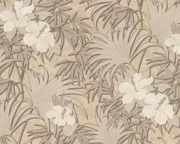 טפט פרחים זהובים עלים חומים עם נצנצים
