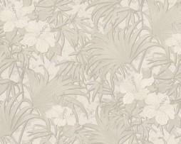 טפט פרחים זהובים עם נצנצים