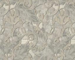 טפט לקיר עלים אפור עם עיטורים בשנהב אמזונס