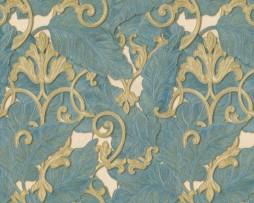טפט לקיר עלים כחול מוזהב עם עיטורים בזהב אמזונס