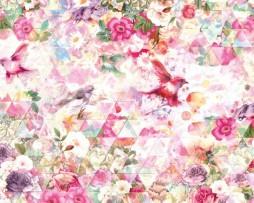 תמונת טפט צבעונית פרחים וציפורים