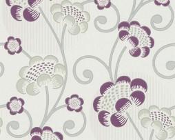 טפט לקיר פרחים מיוחד בגוון שמנת אפור וסגול