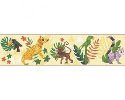 בורדר חיות בג'ונגל ברקע צהוב