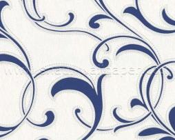 טפט עלים לקיר בגוון שמנת וכחול