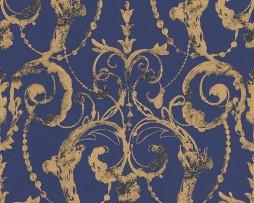 טפט עיטורים תלת מימד בגווני כחול וזהב