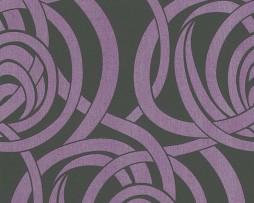 טפט לקיר צורת עיגולים בגוון סגול שחור