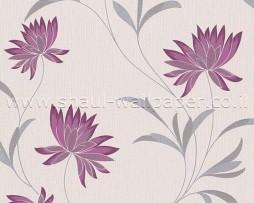 טפט פרחים לקיר בגוון בז' סגול