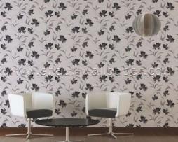 טפט פרחים לקיר בגוון בז' שחור