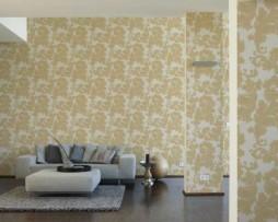 טפט עלים לקיר בגוון קרם מוזהב