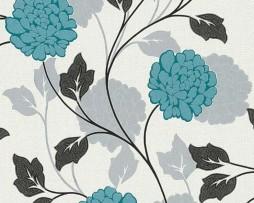 טפט לקיר פרחים בגוון שמנת טורקיז שחור אפור