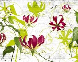 טפט תמונה פרחים ועלים