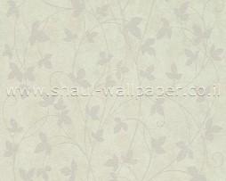טפט פרחים נוצץ לקיר בגווני אפור וירוק בהיר