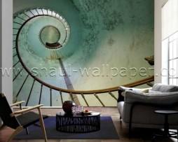תמונת טפט תלת מימד מדרגות ספירלה