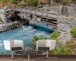 תמונת טפט תלת מימד גשר על נהר