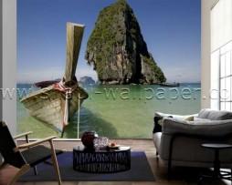 תמונת טפט תלת מימד סירה באוקיינוס