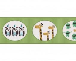 בורדר לילדים חיות היער ברקע פסים ירוקים