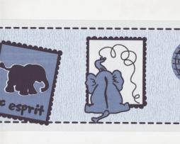 בורדר לחדרי ילדים פילים בגוון תכלת