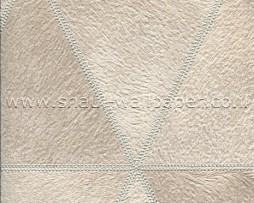 טפט לקיר דמוי עור משולשים בגווני קרם בהיר