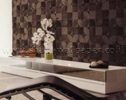 טפט לקיר פרווה מרובעים בגוון חום