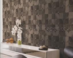 טפט לקיר פרווה מרובעים בגוון חום ואפור