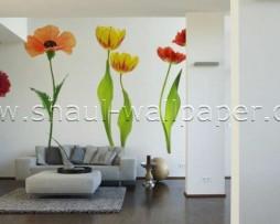 תמונת טפט תלת מימד פרחים אדומים
