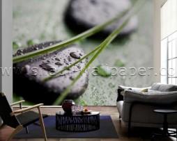 תמונת טפט תלת מימד אבנים שחורות על ירוק