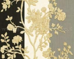 טפט לקיר פרחים זהובים ברקע פסי ווש
