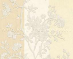 טפט לקיר פרחים כסופים ברקע פסי ווש