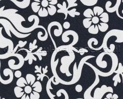 טפטים לארונות, טפט רטרו פרחים לבנים ברקע שחור