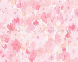 טפט פרחים מצויירים בגווני ורוד