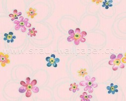 טפט לקיר פרחים צבעוניים ברקע ורוד