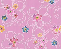 טפט פרחים צבעוניים ברקע ורוד