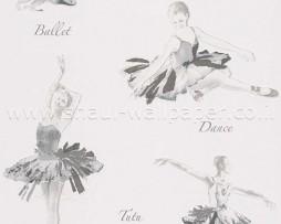 טפט רקדניות עם כיתובים שחור לבן